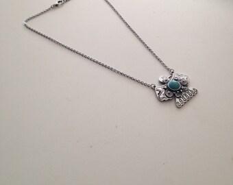 Thunderbird Necklace, Thunderbird Tribal Necklace, Silver Tone & Turquoise, Tribal Native Bohemian Style Necklace