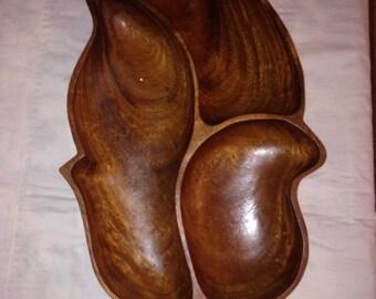 Monkey Pod in Handmade, Vintage (1970's) Large Handcrafted Monkey Pod Wood Leaf Tray