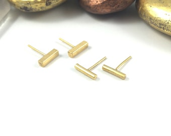 Gold Bar Studs, 24k Gold Bar Earrings,  Gold Bar Earrings, 24k Gold Stud Earrings, Bar Stud Earrings, Minimalist Studs, Tiny Stud Earrings