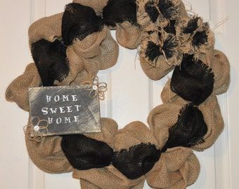 SALE!!!! Burlap Welcome Wreath