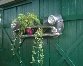 Antique Car Grill Hanging Garden Art Installation Piece.  1950's Plymouth Cambridge Front Bumper With Head Lamps. Interior/Esterior Display