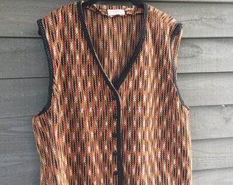 1980's Vintage Boho Liz Claiborne Button Front India Vest Size XX-Large