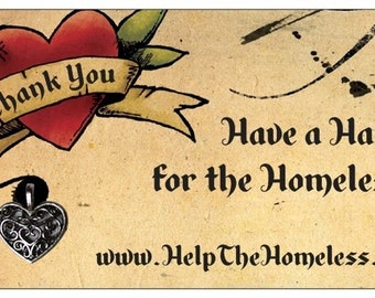 1000 Help The Homeless Thank You Cards with Hart Charm