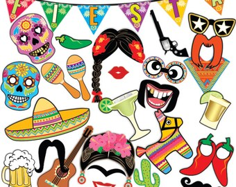 Cinco De Mayo Mexican Fiesta Photo Booth Props / Fiesta Banner, Mexican Party, Fiesta Party Theme / 34pc Printable PDF ▷ Instant Download