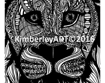 Lion Zentangle Art Print,  Animal Zentangle Art Print, Zen Art, Wall Art Print, Zentangle Print, Black and White Print, Unique Art Print