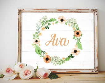 Baby Name Printable, Custom Baby Name Art, Custom Nursery Art, Baby Room Art, Name Wall Art, Floral Wreath Nursery Art, Printable Baby Name