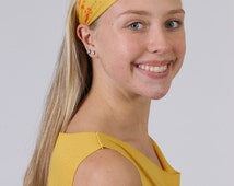 Yoga Headband for Women-Workout Yellow Mandalas Symbol Hairband-Stretchy Fashion & Fitness Hair Accessory-Handmade-Buy Any 4,Get 1 FREE!