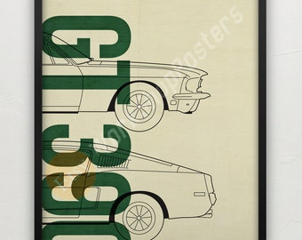 Mustang blueprint etsy ford mustang 1968 gt390 fastback print poster retro style muscle car malvernweather Image collections