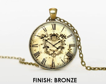 OLD CLOCK necklace Vintage clock pendant watch jewelry victorial clock Pendant chain jewelley 011