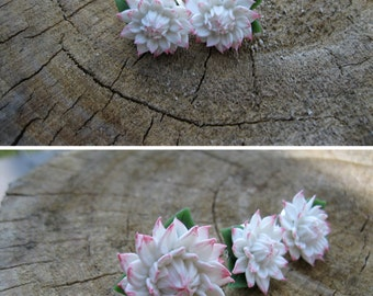 Birthday gift ideas for her White stud earring Gift for friend Wedding stud earring Bridal stud earring Polymer clay earrings dahlia jewelry