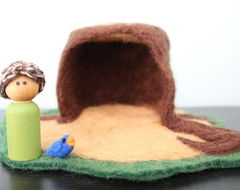 Needle Felt Playscape-Tree Stump Home with Peg Doll and Bird-Waldorf inspired
