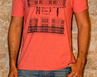 Men's T-shirt Three Windows of Marseille urban Design V-neck Black, Green khaki, Blue denim or Salmon