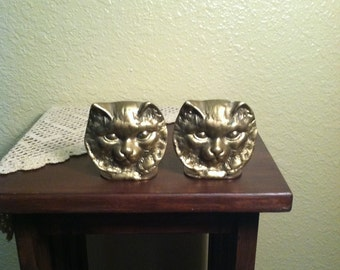 Vintage Enesco Solid Brass Kitty Cat Bookends (1970s)