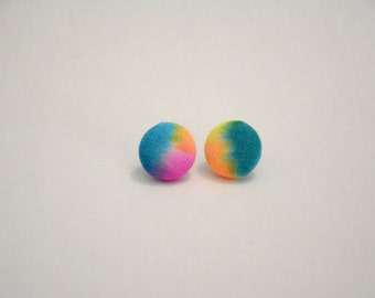 Hand-dyed fabric button earrings