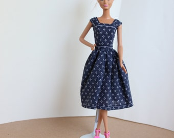 Barbie Clothes, Barbie Dress, Blue Barbie Dress, White Flowers, kayleesboutique03