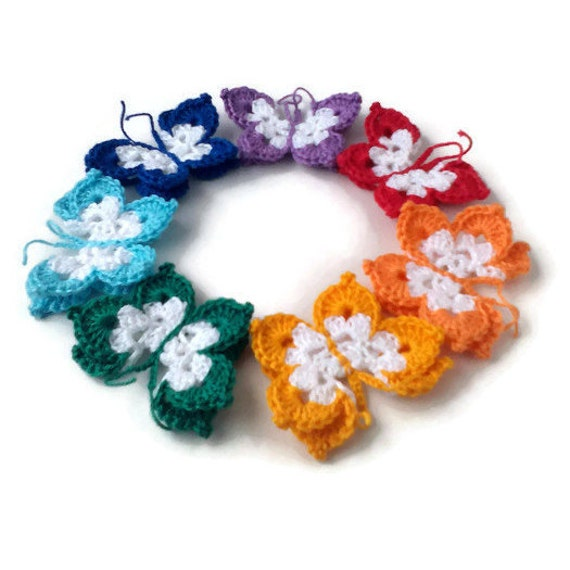 Colorful crochet butterfly applique rainbow crocheted for Handmade decoration pieces