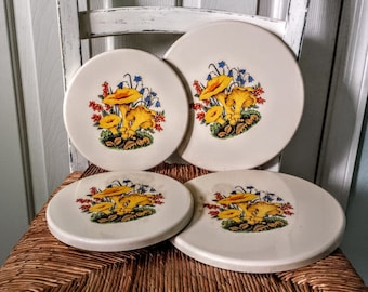 Vintage Enamelware Stove Burner Covers For Electric Stoves Set of 4 Spring Flowers