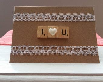 I Love You scrabble card