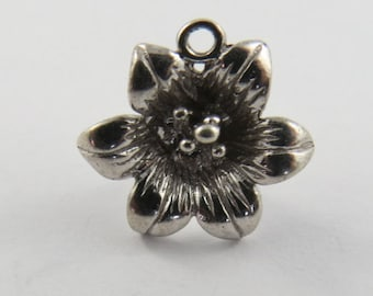 Hibiscus Plant Sterling Silver Charm of Pendant.