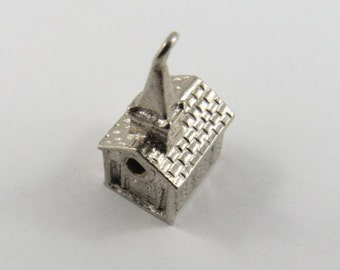 Small Church Silver Charm of Pendant.