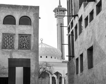 Dubai wall print, Bastakiya, Middle East architecture, black and white photo, home decor, wall print, Middle East photo, UAE