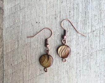 Rustic Striped Shell Dangle Earrings, Shell Earrings, Dangle Earrings, Rustic Modern Jewelry, Free Shipping U.S.