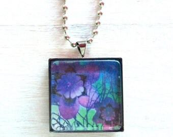 Pendant necklace with purple flowers or your choice of designs