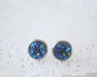 Navy Blue druzy earrings,Ocean Blue Faux Druzy Ear Post Earrings Druzy earrings Ear studs,Deep Blue druzy,Blue green druzy,Navy blue bronze