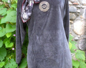 Vintage velvet Sonia Rykiel tunic / mini dress Paris fashion YS Laurent Dior Burberry