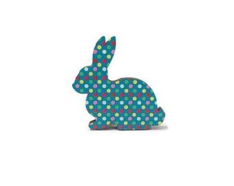 Wooden Rabbit Brooch, Spotty Rabbit Jewellery, Laser Cut Rabbit, Spotty Jewellery, Woodland Jewellery, Animal Jewellery, Bunny Brooch