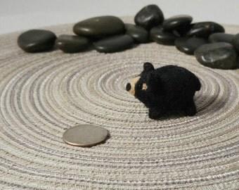 Miniature Black Bear Soft Art Toy Microfauna Figurine