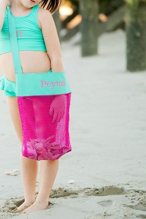 Monogram Beach Bag ~ Shell Bag ~ Beach Life ~Salt Life ~ Sea Shells ~ Mesh Beach Bag ~