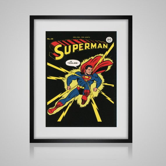 Book Cover Wall Art ~ Framed wall art vintage comic book cover superman
