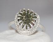 Druzy Russian Pyrite Sterling Silver Ring, Vintage Druzy Ring, Rainbow Druzy, Bohemian Ring, Hippie, Artisan, Custom, Statement Ring