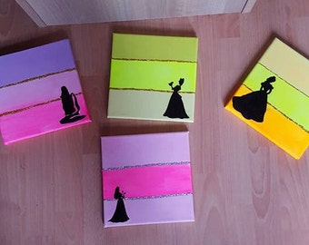 Set of 4 Princess Canvases