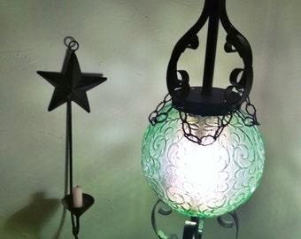 vintage 60u0027s green glass u0026 black metal scroll swag lamp