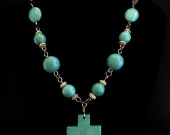 Stunning Turquoise Cross Necklace