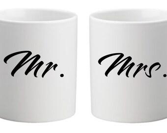 Mr & Mrs coffee mugs 11oz