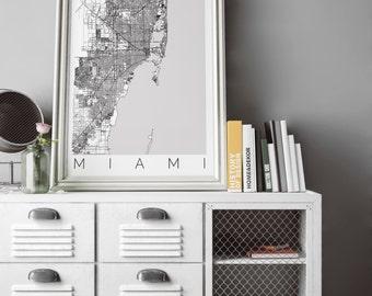 Map of Miami, Florida - Map ART - Miami Poster  - Office Decor - Miami Travel Poster - City of Miami - Travel Decor - Florida Print