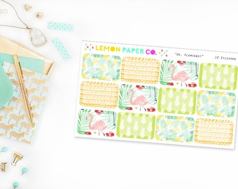 Oh, Flamingo! // Half Boxes (Planner Stickers for Erin Condren Vertical and MAMBI The Happy Planner)