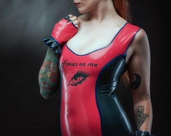 Focus on Me Latex Dress Cherry Pink and Peacock size M/L