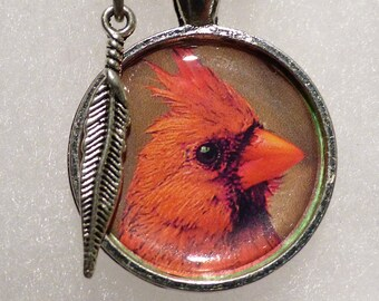 """Cardinal photo Pendant 1 - 18"""" necklace - perfect gift"""