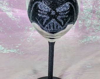 Hand Decorated Glitter Glass - Star Wars Inspired Darth Vader Wine Glass