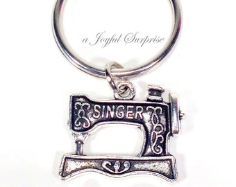 Silver Sewing machine Keychain keyring Seamstress Key Chain Gift for Fashion Design Student Male Men Birthday Gift, Christmas Present 192