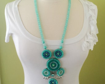Stunning Handmade Turquoise Glass Beaded Multi Tiered Pendent Statement Necklace