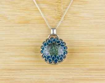Electric Blue Flame, Glass Cabochon & Sterling Silver Pendant, Silver Artisan Jewelry, Item # GP-519015