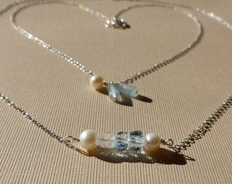 Dainty Aquamarine Necklace, Layered Necklaces, Dainty Layered Necklace, Dainty Aquamarine Layered Necklaces