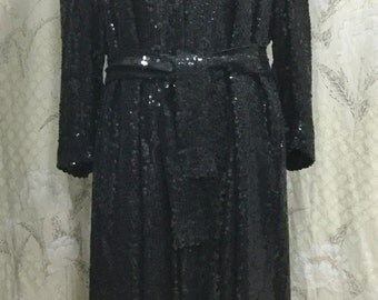 SALE: WAS 600.00, Jeanette for St Martin Full Length Black Sequin Evening Coat With Sequin Belt, Size M,