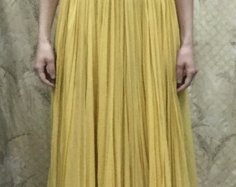 Vintage 1960s Yellow Silk Chiffon Evening Gown, Yellow Maxi Dress