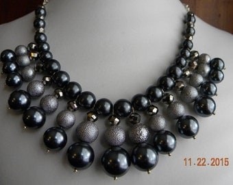 Grey and Silver Glass Pearl and Crystal Beaded OOAK Bib Necklace